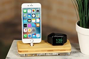 Wooden docking station iPhone and Watch, Bamboo Stand, Charging Holder Compatible with iPhone 11/XR/Xs/X/8/7/, Apple Watch Series 1/2/3/4/5, iPad Mini, Airpods | Organizer with Pre-installed USB Cable
