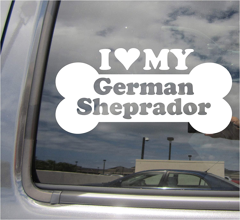 I Heart Love My German Sheprador - Dog Bone German Shepherd Labrador Retriever Designer Mixed Hybrid Breed Cars Trucks Moped Auto Automotive Craft Laptop Vinyl Decal Store Window Wall Sticker 13438