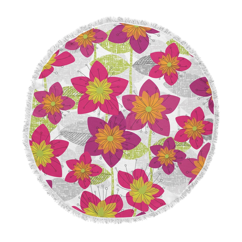 Kess InHouse Jacqueline Milton Star Flower Floral Pink Round Beach Towel Blanket
