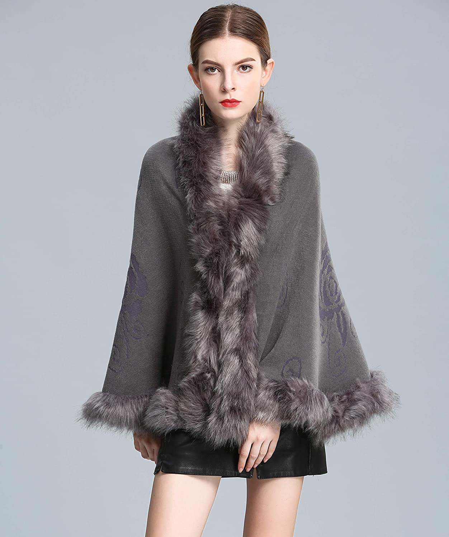 Caracilia Women Luxury Bridal Faux Fur Shawl Wraps Cloak Coat Sweater Cape