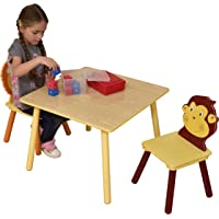 Liberty House Toys Jungle Table and Two Chair Set, Wood, Multi-Colour