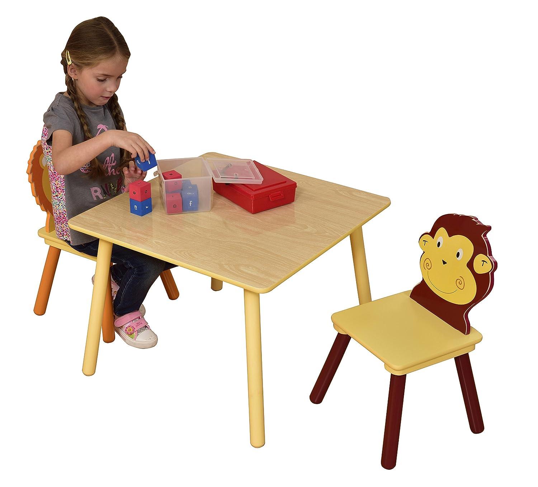 Liberty House Toys–Set Tavolo e due sediegiungla, legno, multicolore MZ3868-N