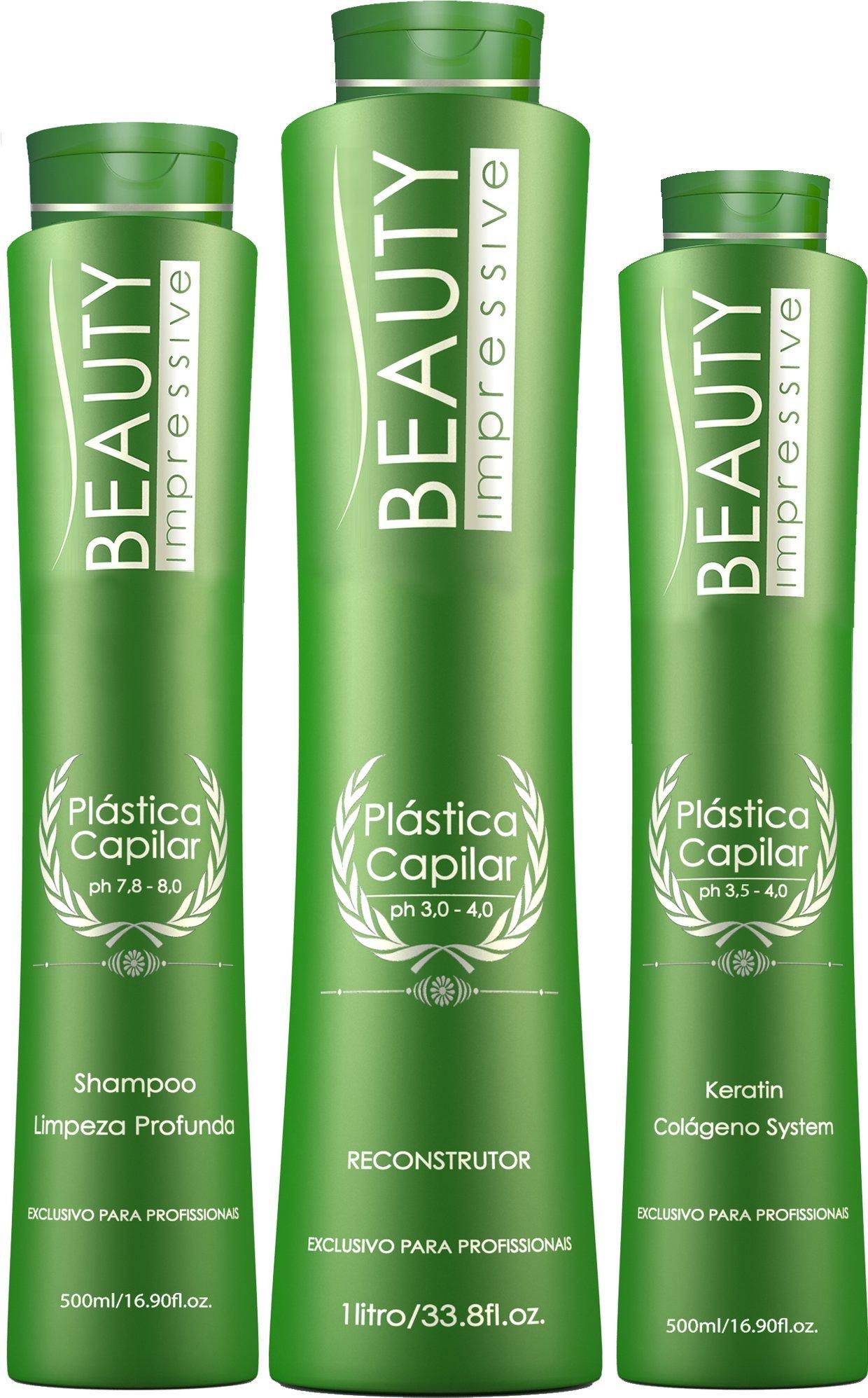 Brazilian Hair Botox Keratin Maintenance - Plastica Capilar by Beauty Progress - Set of 3 - Shampoo (500ML) Reconstructor (1L) Keratin (500ML) 10+ Applications