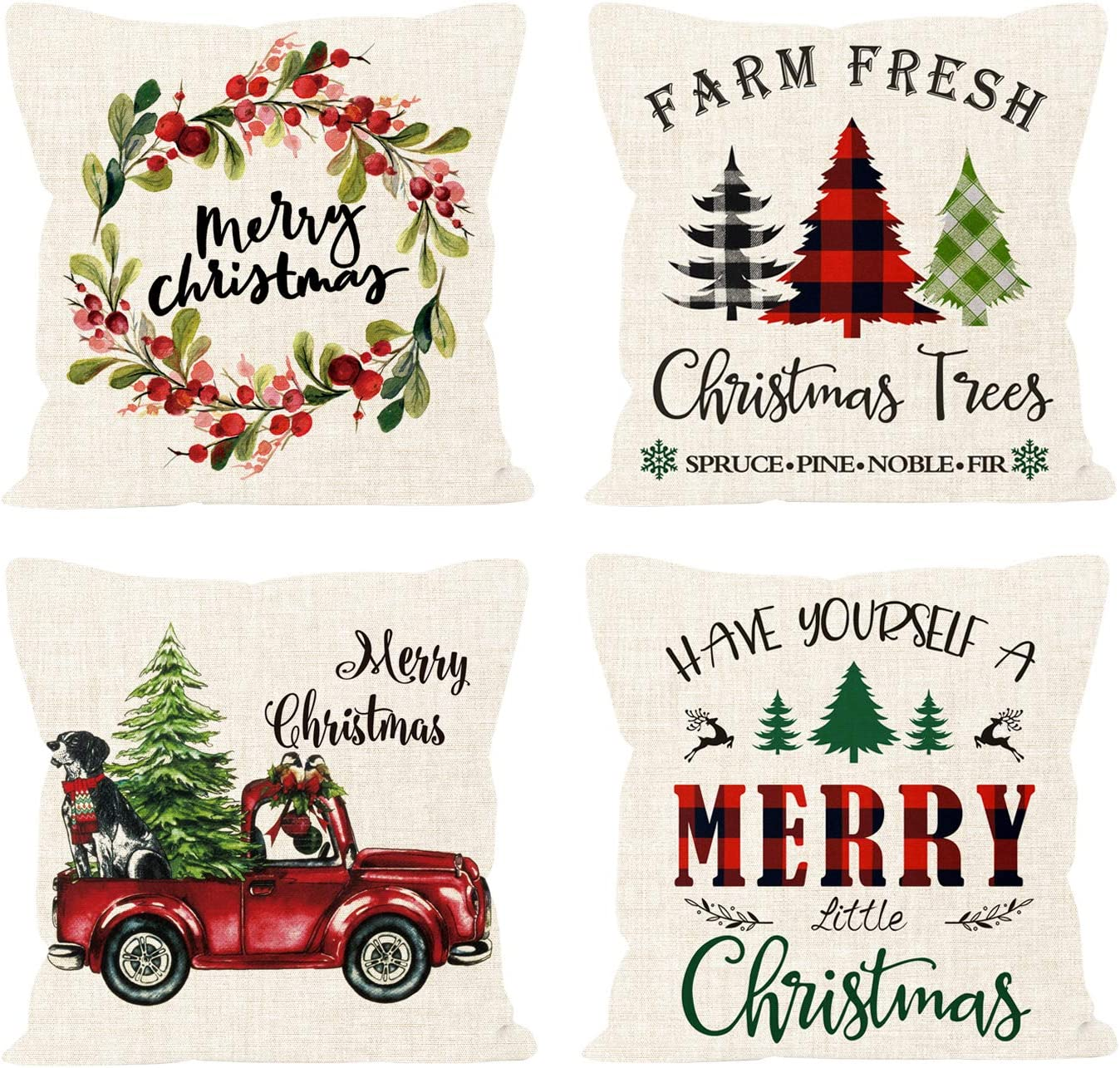 MLOLM Christmas Pillow Covers,18x18 Set of 4 for Farmhouse Home Decor Winter Holiday Throw Pillow Case Cushion Covers