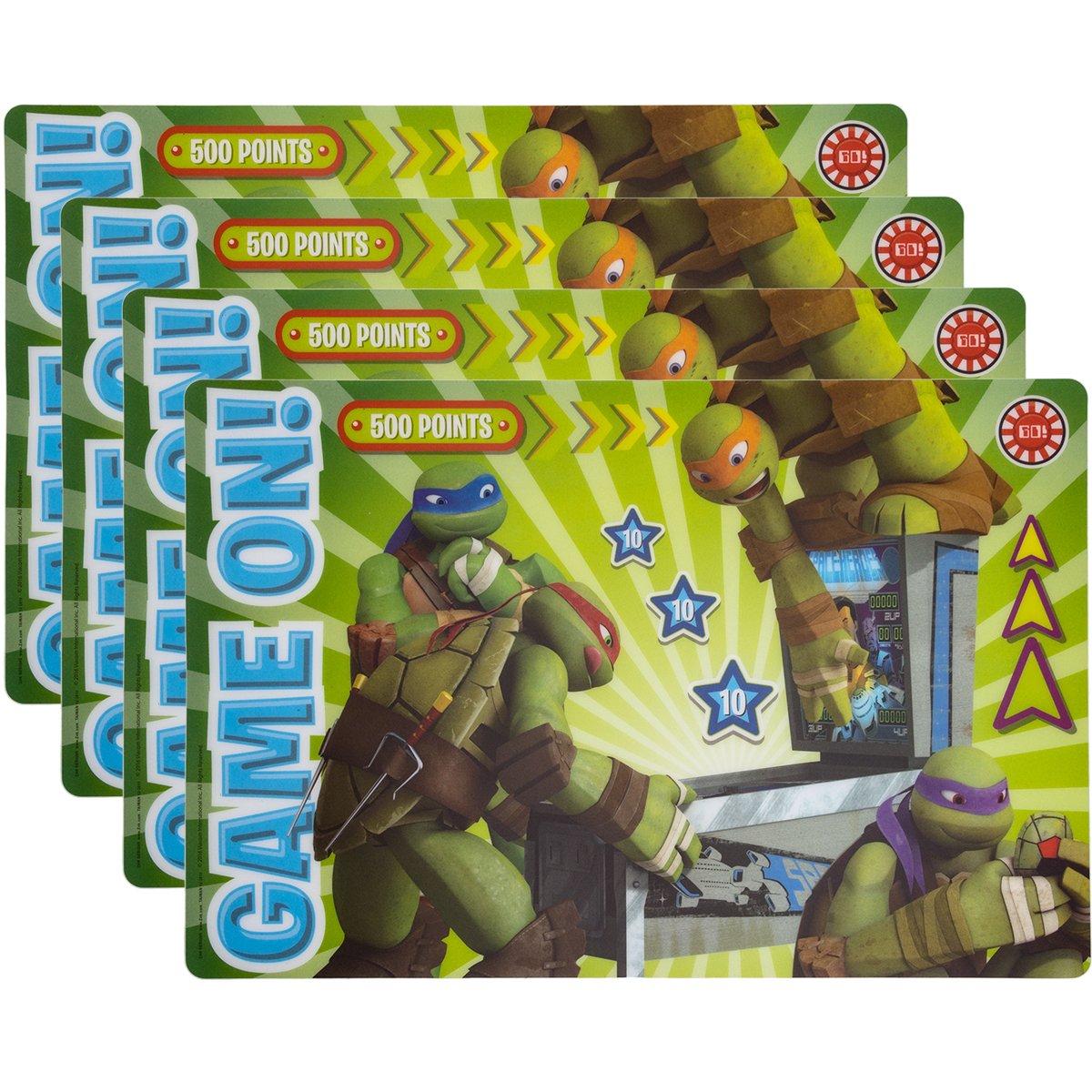 ZAK Designs 4 Pack Teenage Mutant Ninja Turtles Placemat For Kids Party Supplies   B0731NXR17