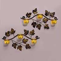 Homesake Iron Wall Mount with Votive Candle Holder and T-Light Candles (40 cm x 8 cm x 27 cm, Yellow, Set of 2)