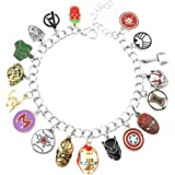 New Horizons Production Marvels Captain America Cosplay Assorted Silvertone Metal Charms BRACELET W//Gift Bag