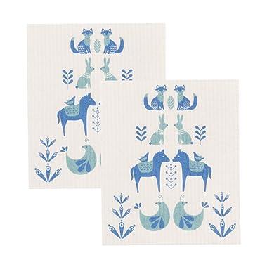 Now Designs Swedish Dishcloth, Set of Two, Meadowland, Set of 2, Print, 2 Piece