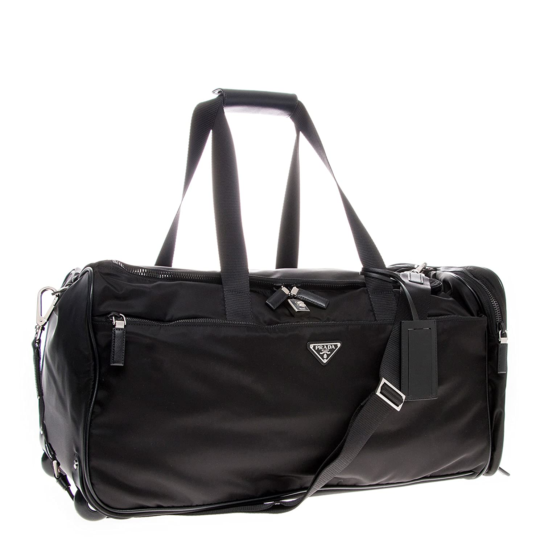 f8070d571d1e Amazon.com   Prada Women's Nylon and Leather Trolley/Duffle Bag Black    Travel Duffels
