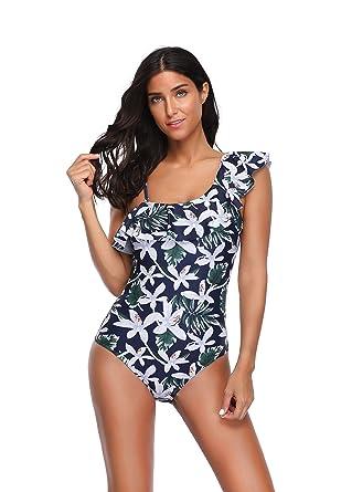 b21af48ba6 Reteron Women's Petite Print One Shoulder Ruffle One Piece Swimsuit Bathing  Suit (White Flower,