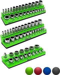Olsa Tools Magnetic Socket Organizer | 3 Piece Socket Holder Kit | 1/2-inch, 3/8-inch, 1/4-inch Drive | SAE Green | Holds 68 Sockets | Premium Quality Tools Organizer