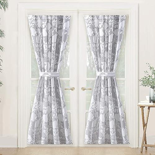 DriftAway Floral Delight Door Curtain Sidelight Curtain Thermal Rod Pocket Room Darkening Privacy Front Door Panel Adjustable Tieback 2 Panels 52 Inch by 72 Inch Plus 1.5 Inch Header Gray