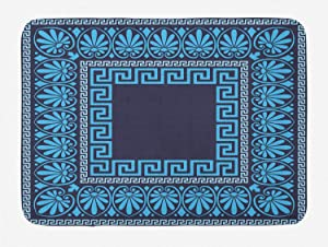 "Ambesonne Greek Key Bath Mat, Grecian Meandros Pattern with Intricate Lines Floral in Blue Shades, Plush Bathroom Decor Mat with Non Slip Backing, 29.5"" X 17.5"", Dark Blue"