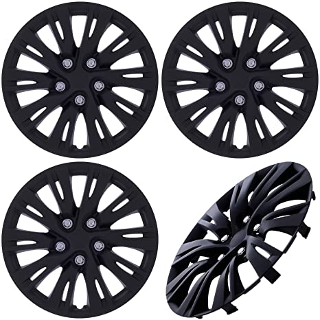 Amazon.com: Cover Trend (Set of 4) MATTE BLACK Hub Caps FITS 16