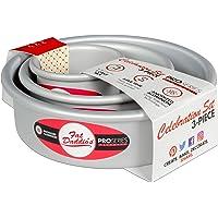 Fat Daddio's Anodized Aluminum Round Cake Pan Celebration Set, Set of 3, Silver, 1-Box Mix