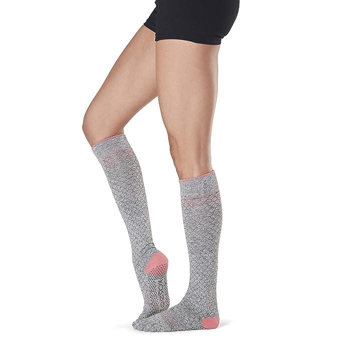Toesox Womens Grip Pilates Barre Socks-Non Slip Scrunch ...