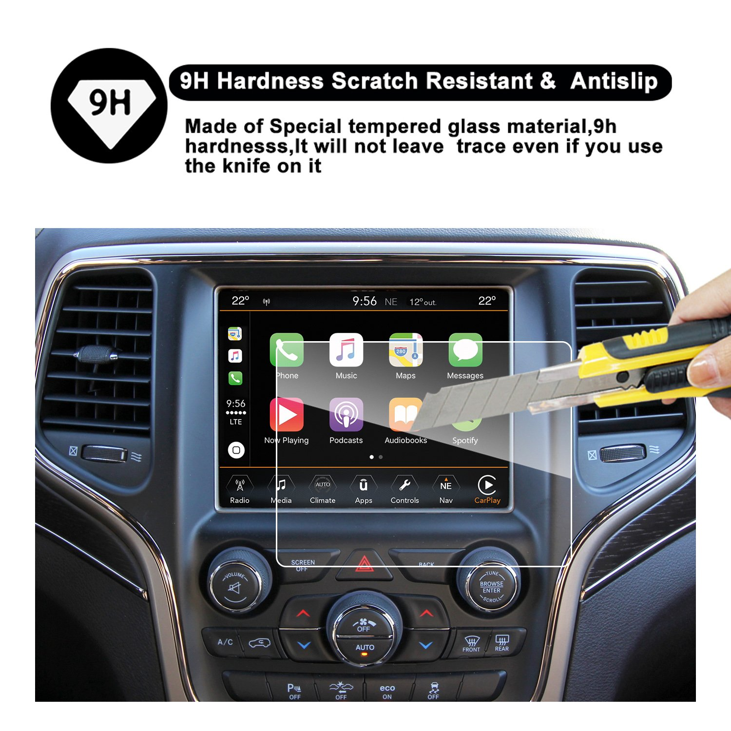 2014-2018 Jeep Grand Cherokee Uconnect Touch Screen Car Display Navigation  Screen Protector, RUIYA HD Clear Tempered Glass Car in-Dash Screen