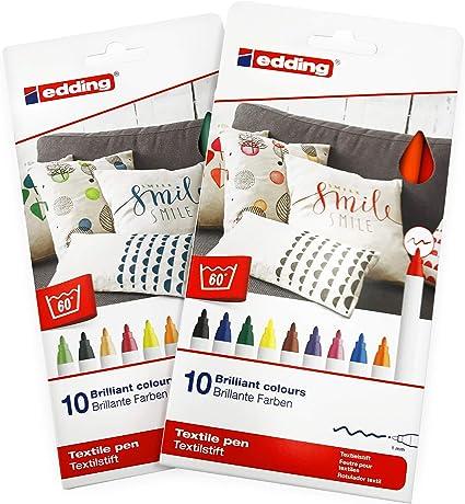20 Pens 2 Assorted Sets Edding 4600 Textile Marker Pens 1mm Round Nib