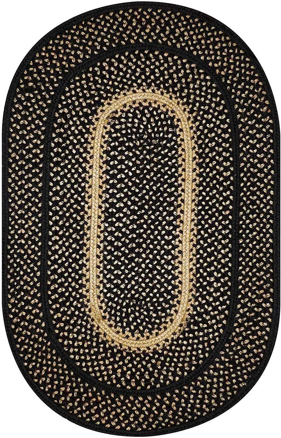 Manchester Premium Jute Braided Area Rug by Homespice, 20 x 30 Oval Black, Reversible, Natural Jute Yarn Rustic, Country, Primitive, Farmhouse Style - 30 Day Risk Free Purchase