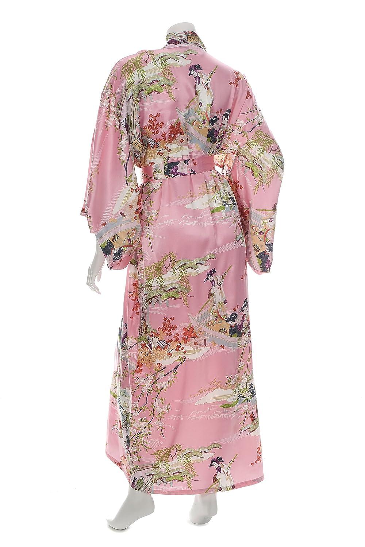 f7e65c61eb Silk Ukiyoe Print Long Pink Japanese Kimono at Amazon Women s Clothing  store