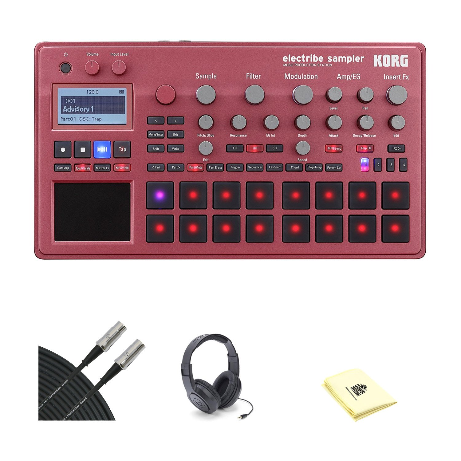 Korg ELECTRIBE Electribe Synth with Samson SR350 Open-Ear Headphones, 2 Conquest Sound 10' Midi Cable and Custom Designed Instrument Cloth (Red)