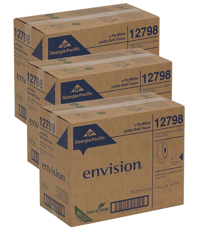 Georgia Pacific Professional 12798 Jumbo Jr. Bathroom Tissue Roll, 9'' Dia, 1000ft (Case of 8 Rolls) (3 case)