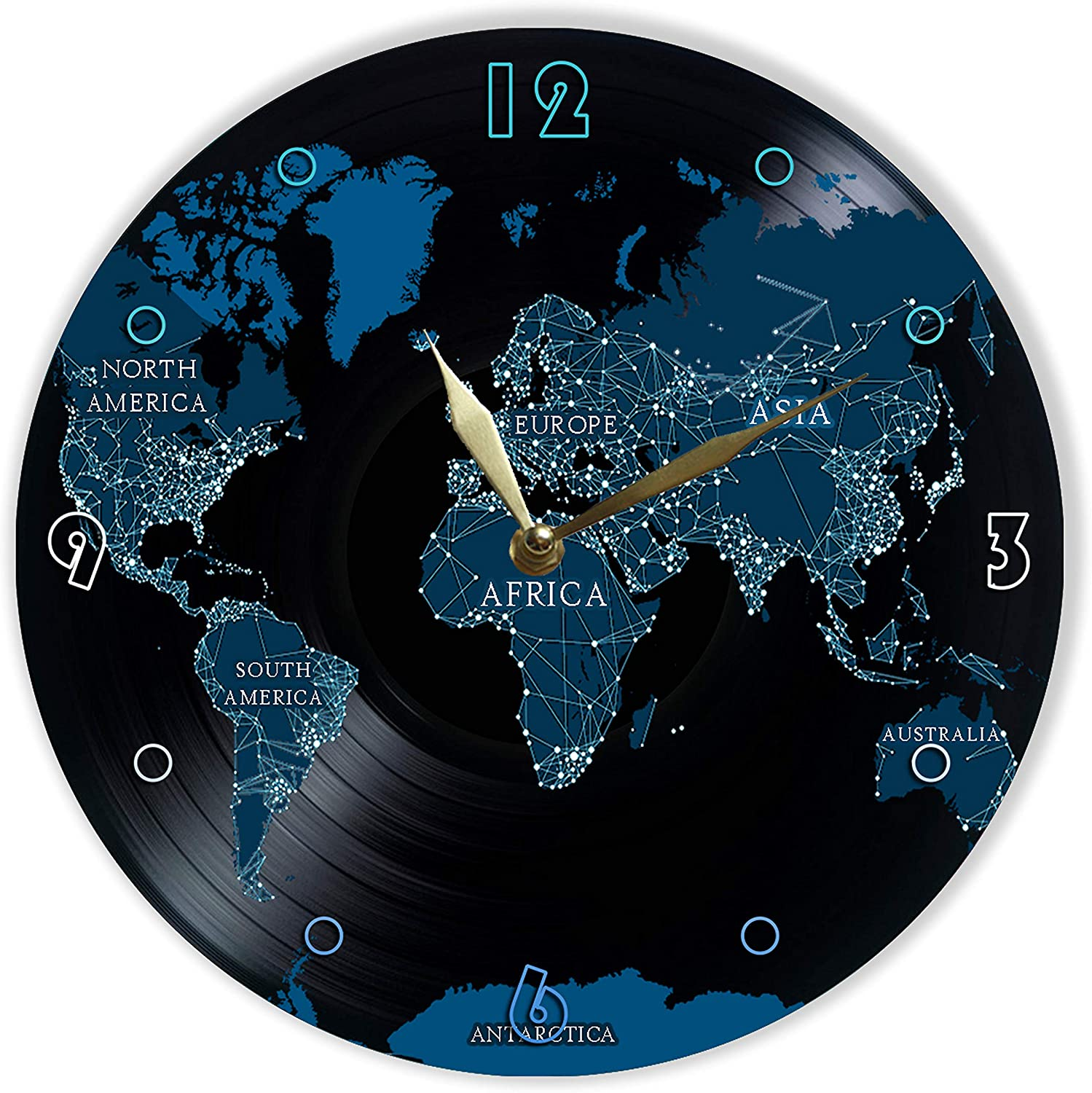 Wall Clock World Map Best Gift for Continents Unique Gifts for Fans World Map MiraG Continents Painted Vinyl Clock 12 The Best Home Decor