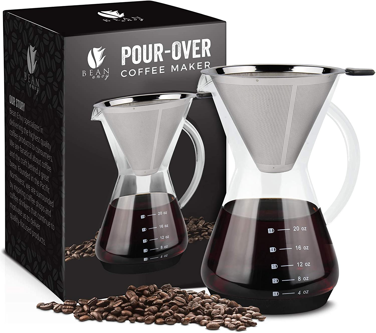 Bean Envy Pour Over Coffee Maker – 20 oz Borosilicate Glass Carafe – Rust Resistant Stainless Steel Paperless Filter Dripper – Includes Custom Silicone Sleeve