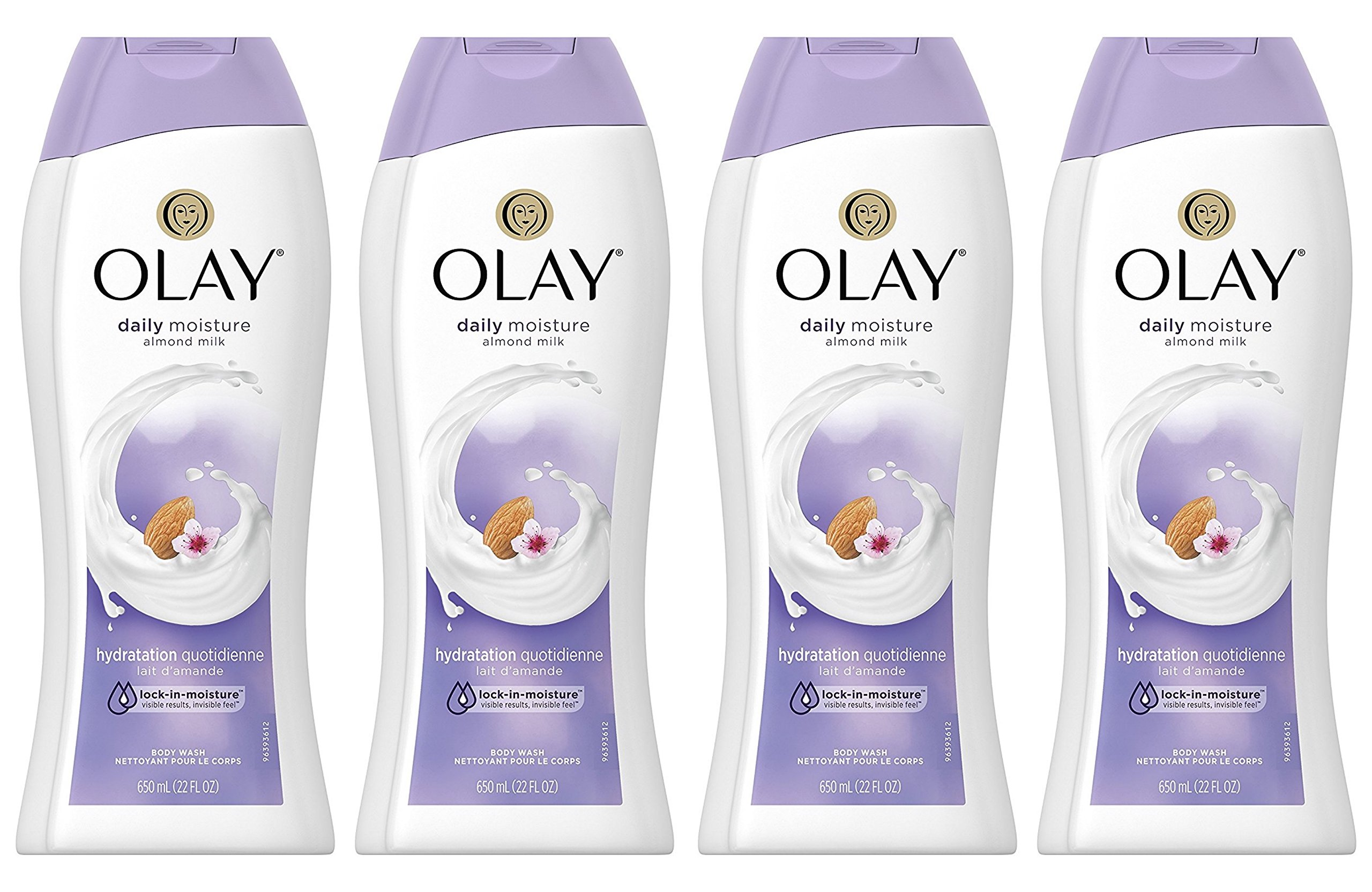 Body Wash for Women by Olay, Daily Moisture with Almond Milk Body Wash, 22 oz, (4 Count) by Olay