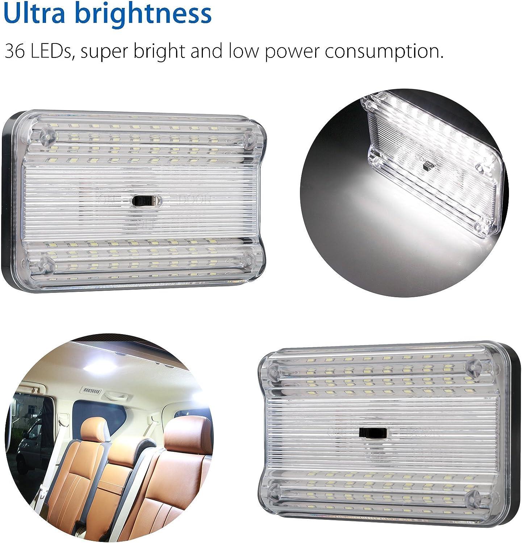 DC12V 36 LED RV Porta Lampada Slim Plafoniera per Interni Auto Camper Rimorchio Motore Casa Camion Marine Illuminazione con Interruttore On//Off
