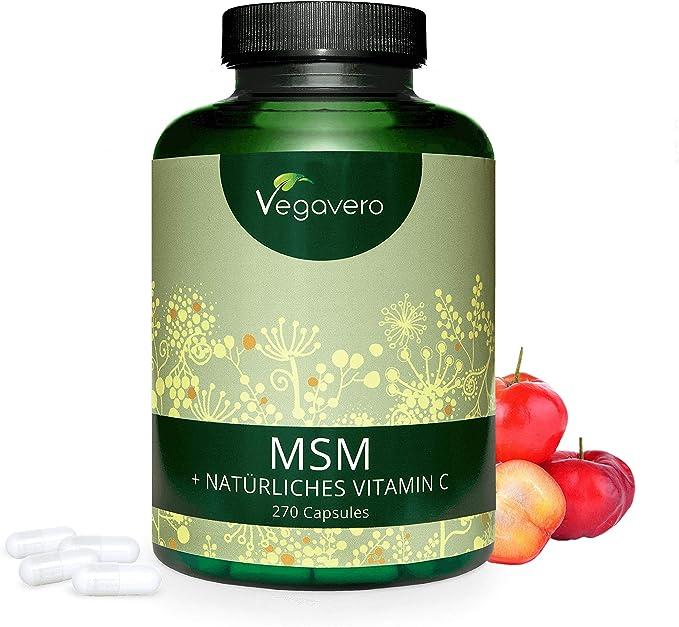 MSM + Vitamina C Natural Vegavero® | 2100 mg | 270 Cápsulas | SIN ...