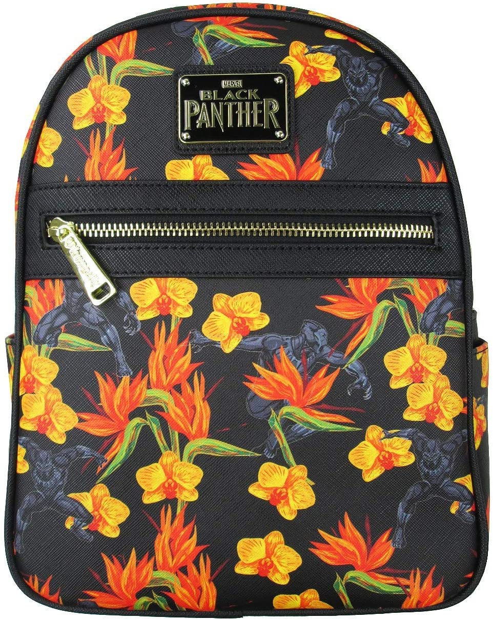 Loungefly Black Panther Floral Mini Backpack One_Size, Black