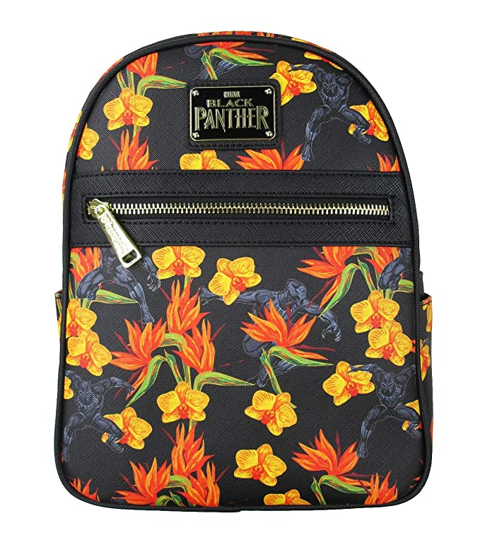 Loungefly Black Panther Floral Mini Backpack (One_Size, Black)