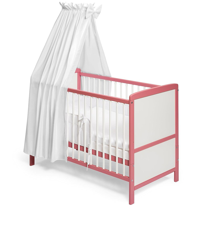 KOKO -Babybett |NILS | Komplett | 140x70 cm | umbaubar zum Juniorbett | Designwahl (Design: Satinbaumwolle weiss) KOKO-Kinderartikel