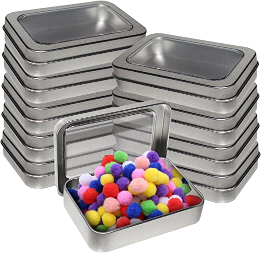 Kurtzy Cajas Metalicas Pequeñas (Pack 10) Latas de Aluminio Tapa Transparente sin Bisagra - 9cm x 5.5cm x 2cm ...
