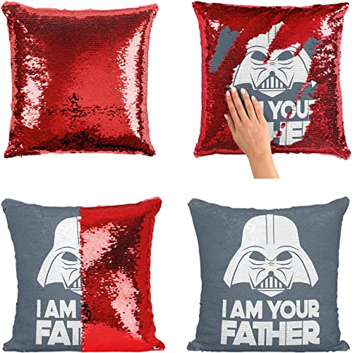 I Am Your Father Star Wars Sequin Pillow, Scales Reversible Funny Mermaid Pillow, Funny Meme Animation Pillow, Pillowcase Xmas, Birthday, Gift, Present Cover Insert