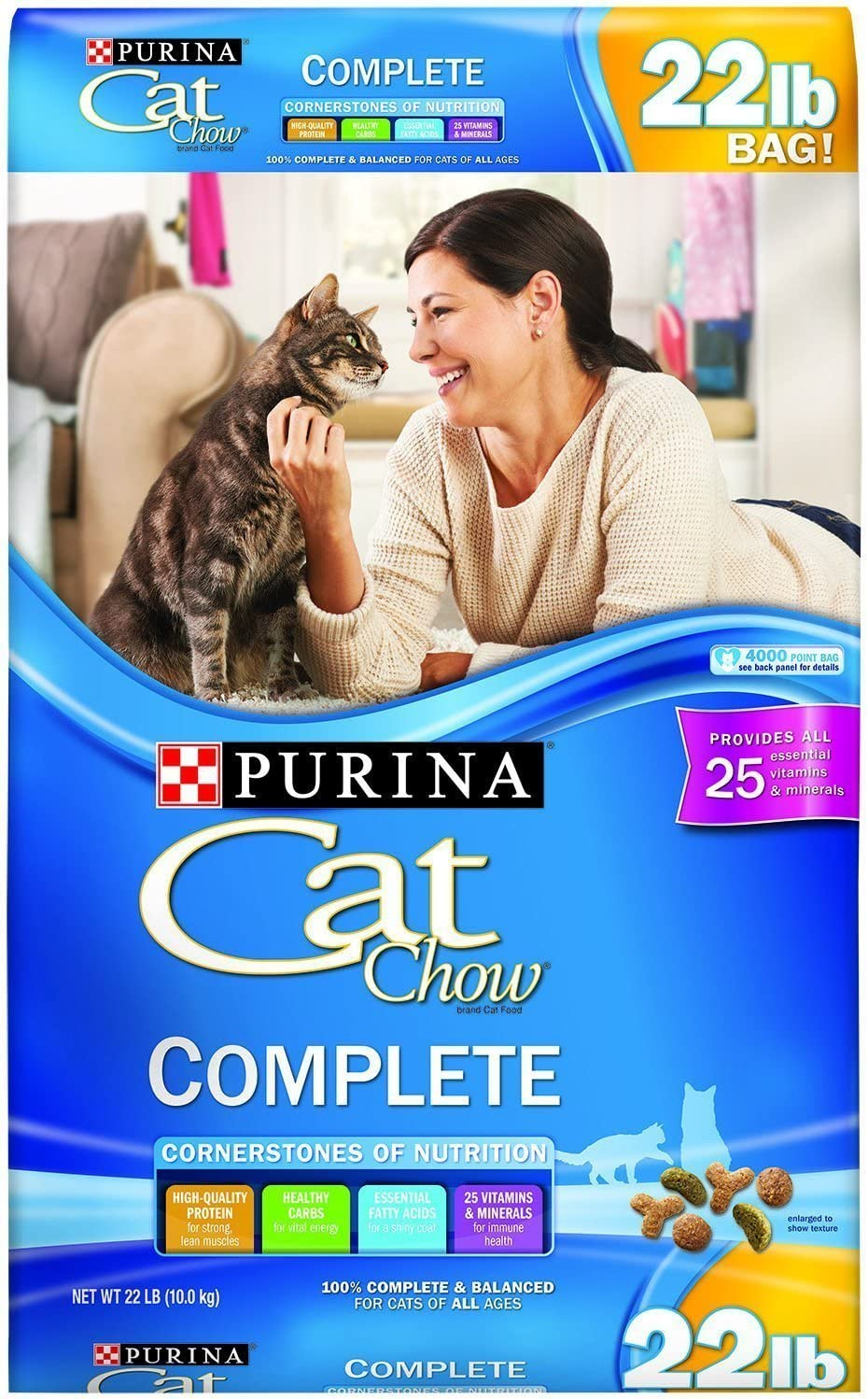 Purina Cat Chow Complete Dry Cat Food (22 lb. Bag - Pack of 2)