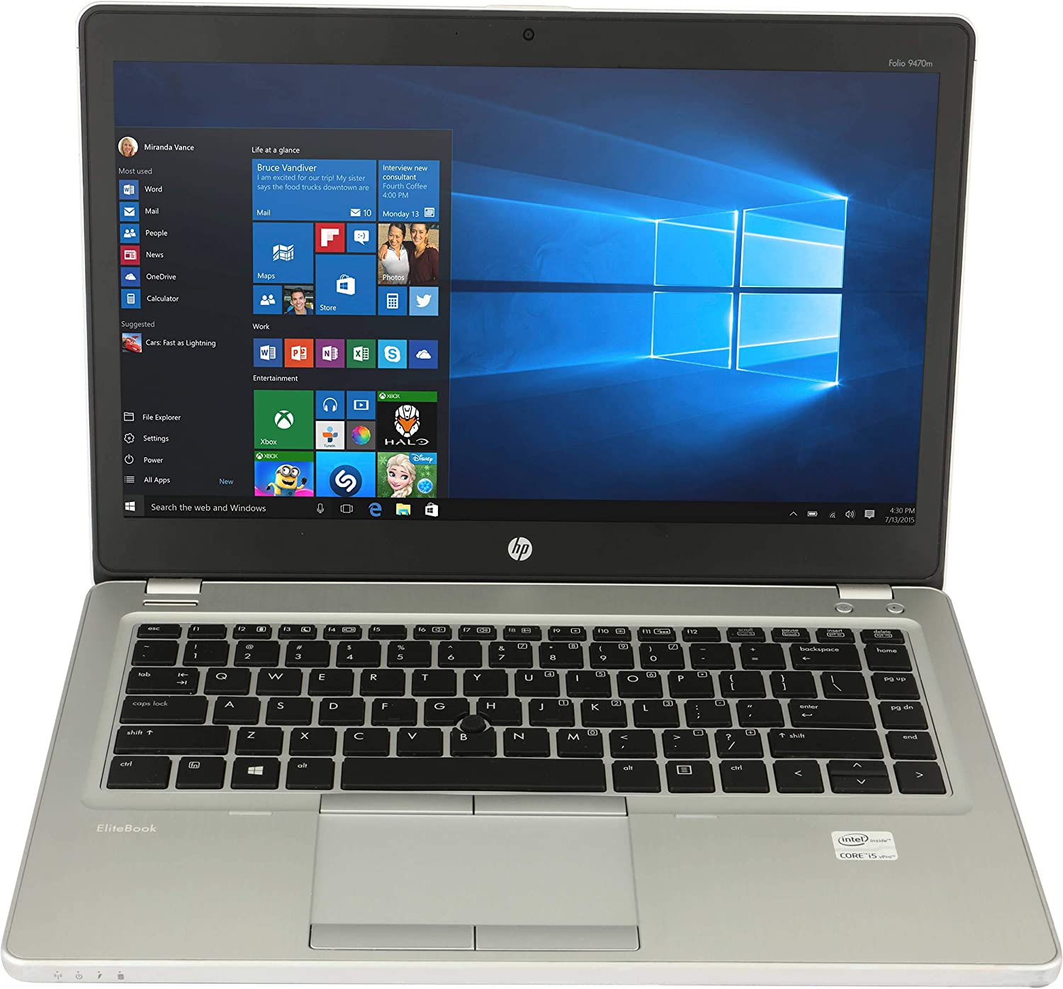 "HP ELITEBOOK Folio 9470M i5-3427U 1.8GHZ 14"" 8GB 320 HDD DVDRW Win 10 PRO (Renewed)"