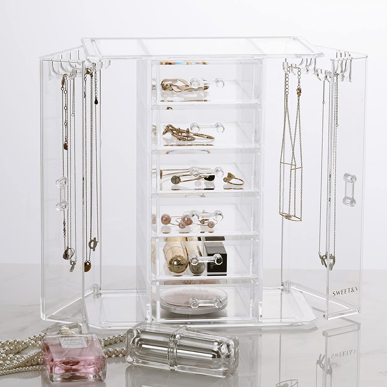 SWEETV Portagioie Scatole per gioielli Scatola Custodia box Organizer per gioielli e trucchi con 6 cassetti - Trasparente SVKASSH1802