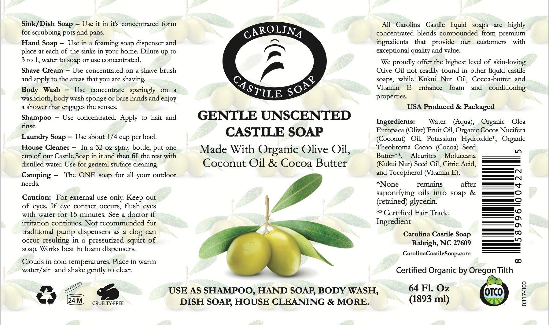 Carolina Castile Soap Gentle Unscented | Certified Organic - 64 Oz by Carolina Castile Soap (Image #2)