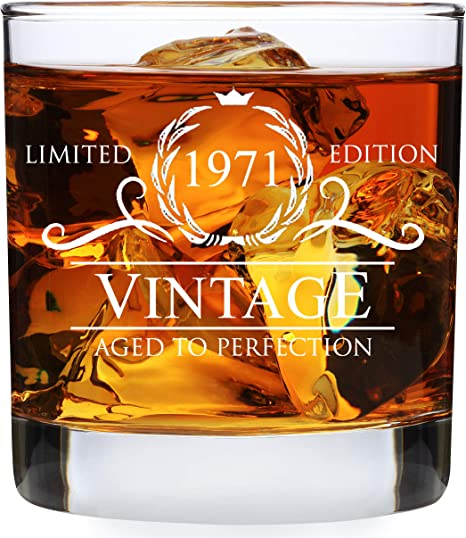 50 Year Old Bday Decorations 12OZ Vintage 1971 Whiskey Glass and Stones Funny 50 Birthday Gift for Dad Husband Brother 50th Anniversary Present Ideas for Him 50th Birthday Gifts for Men