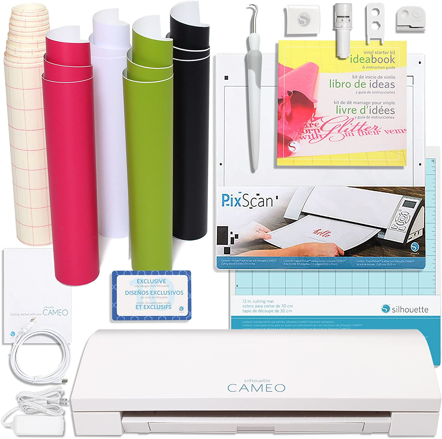 Silhouette America CAMEO-3-AMAZON-BDL-3 Touch Screen, Bluetooth, Vinyl Starter Kit with PixScan Cutting Mat by Silhouette America: Amazon.es: Hogar