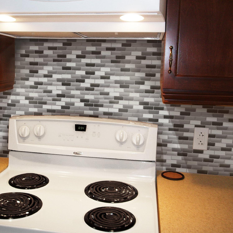 11 x 9.25 Oblong 24086 Glass Grey 4 Tiles Easy DIY Peel and Stick Adhesive Backsplash Tiles Peel and Impress