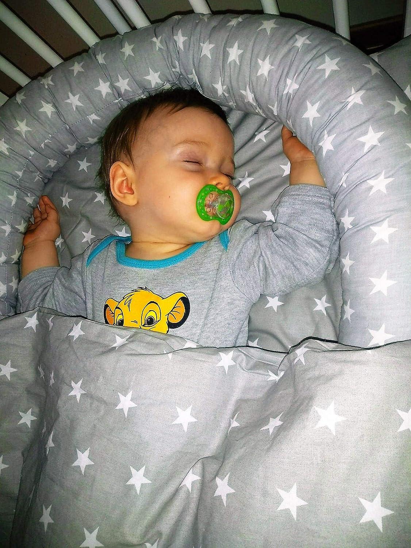 Bettumrandung Nestchen Babybett umrandungen babybettumrandung Bettnestchen f/ür Kinderbett Beistellbett Gitterbett 210 x 30 cm Grau-Wei/ß Baumwolle