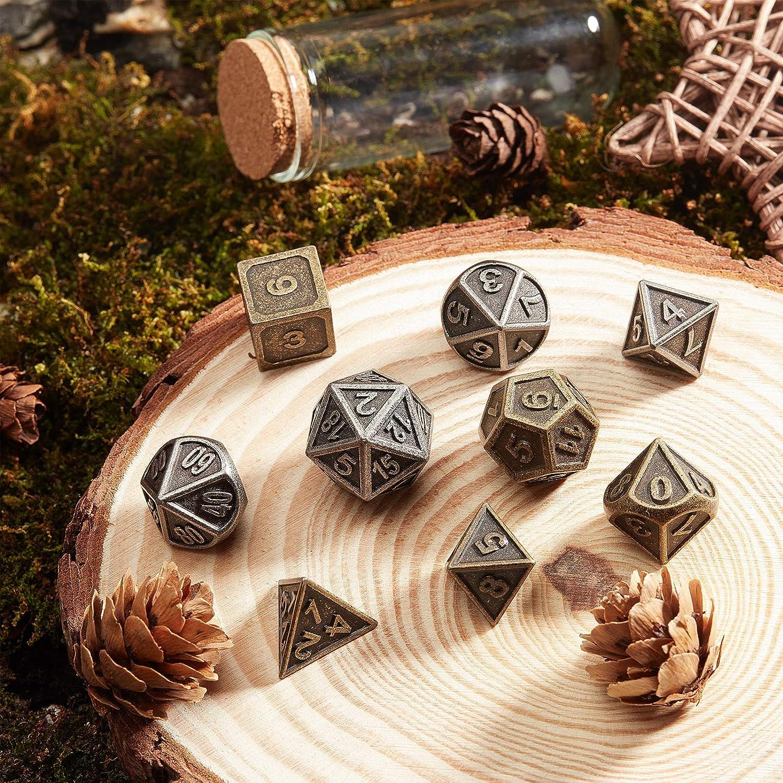 GORGECRAFT 14 St/ück Metall DND W/ürfel-Set Zinklegierung W/ürfel Dungeons und Dragons Polyedrale Metallw/ürfel f/ür Rollenspiele
