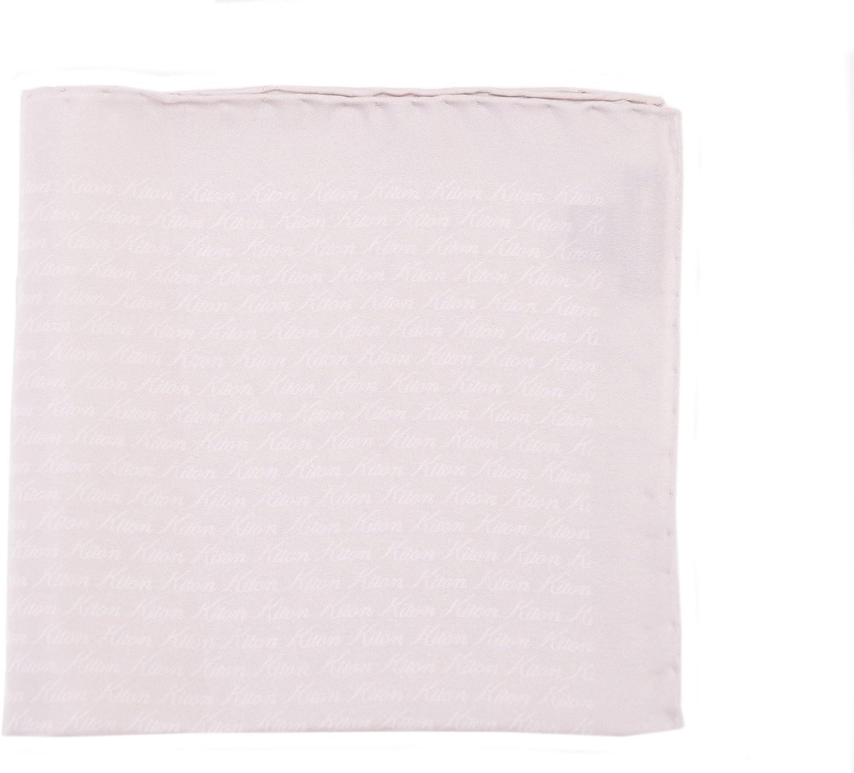 Kiton Brown /& Black Brand Name Print Silk Pocket Square Handmade In Italy
