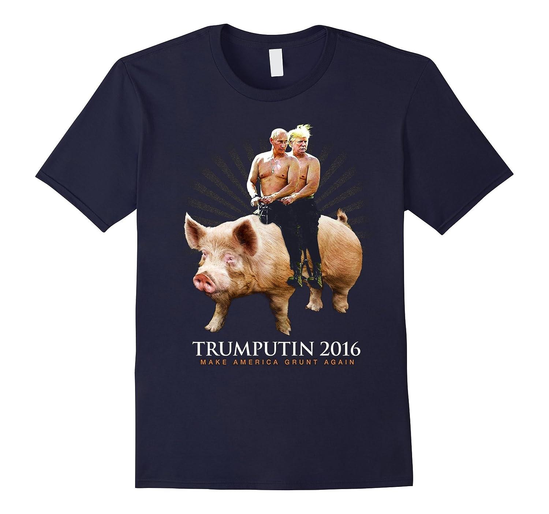 Donald Trump Vladimir Putin 2016 Riding A Pig Funny T-Shirt-RT