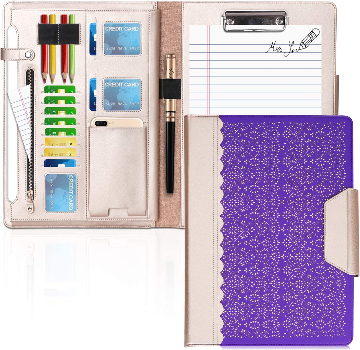 WWW Portfolio Case/Portfolio Folder, Interview/Legal Document Organizer with Business Card Holders, Letter-Sized Clipboard and Document Sleeve for Office and Interview Purple