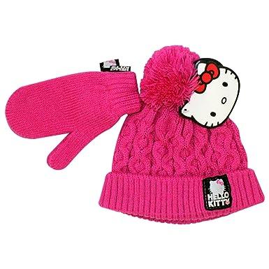 37cdf7ff136 Girls Winter Hello Kitty Pink Beanie Bobble Hat Mittens Age 18-24 Months