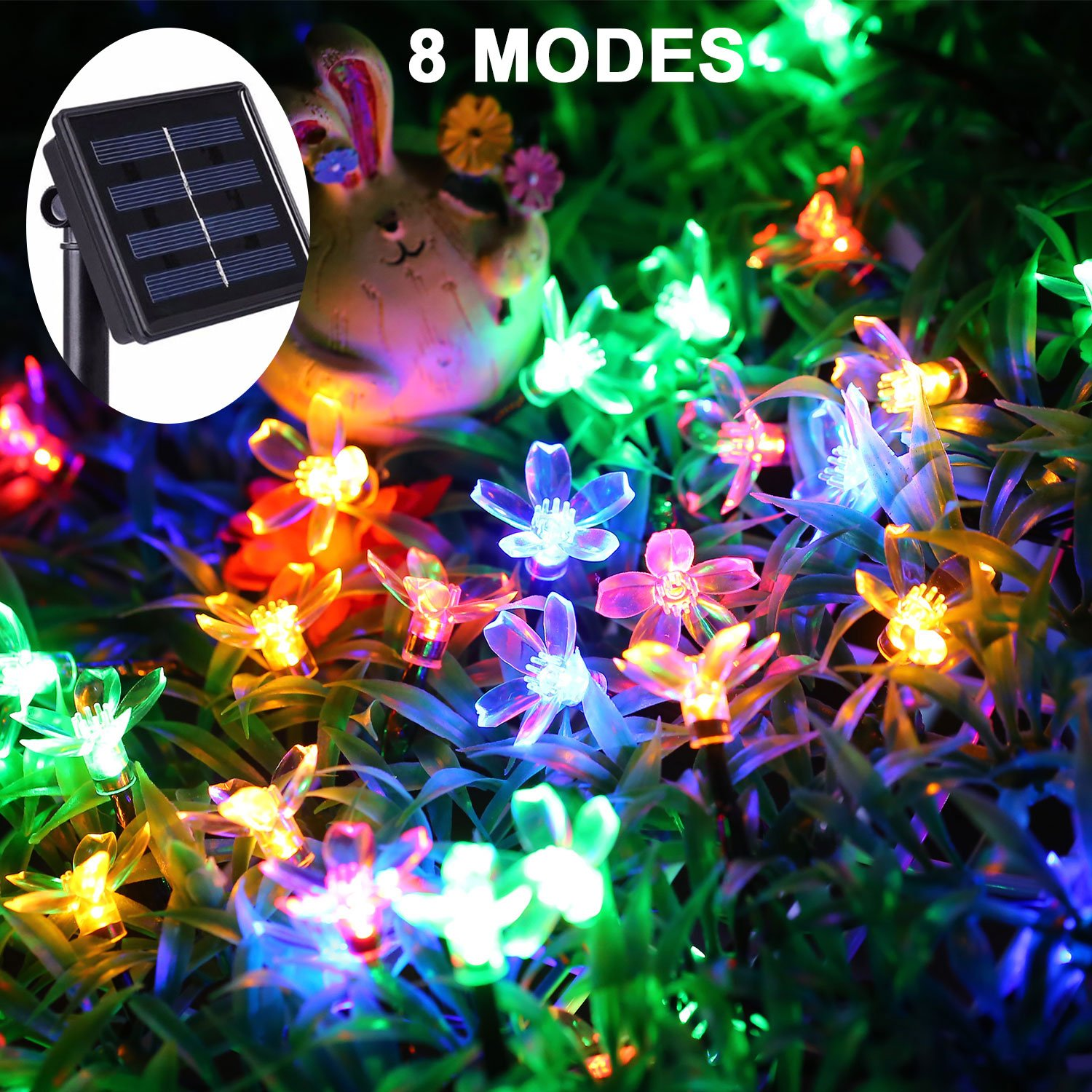 JMEXSUSS 8 Modes 50 LED 30.7Ft Waterproof Solar Flower Blossom String Fairy Decorative Light for Outdoor, Indoor, Garden, Patio, Yard, Home, Christmas Tree, Parties (Flower Blossom, Multicolor)